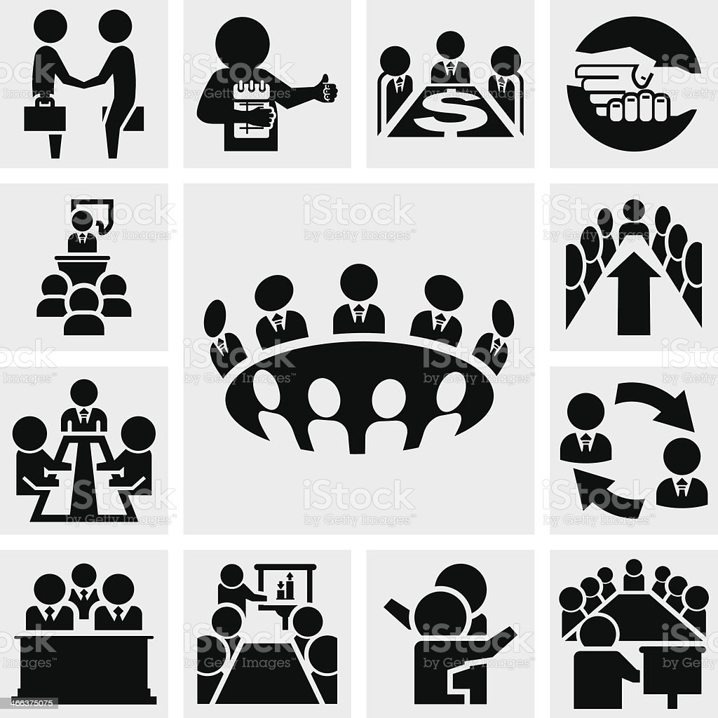 Business man vector icons set on gray vector art illustration