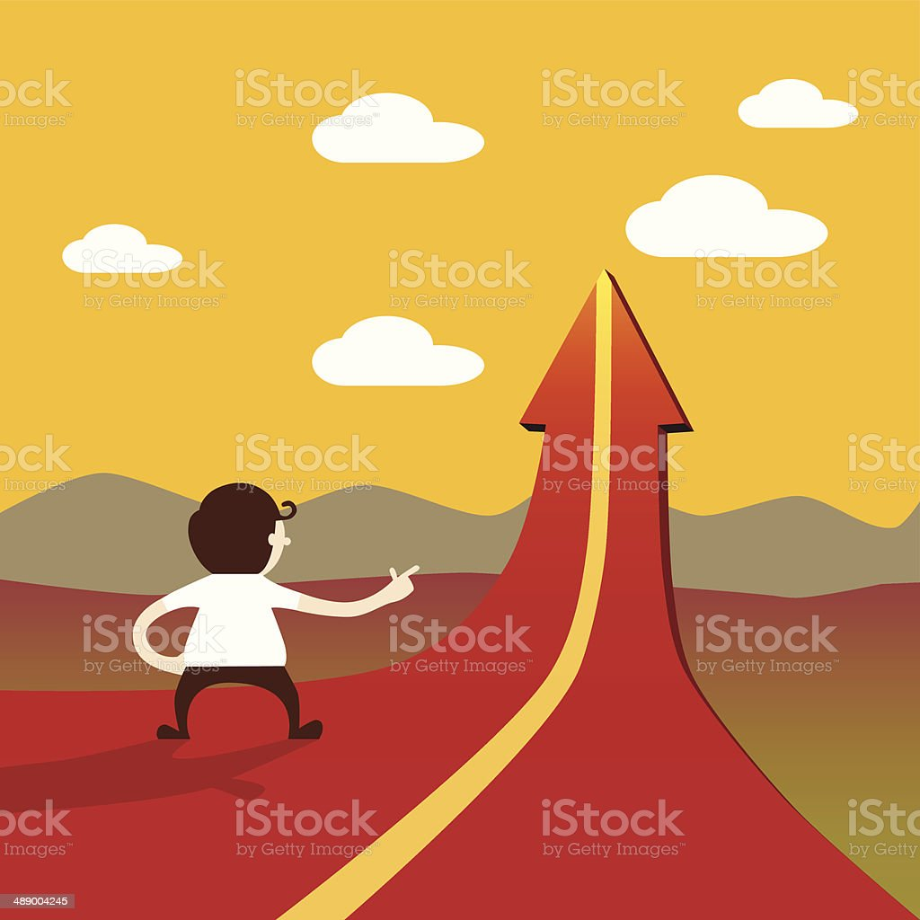 Business man walk to up trend arrow road way vector art illustration