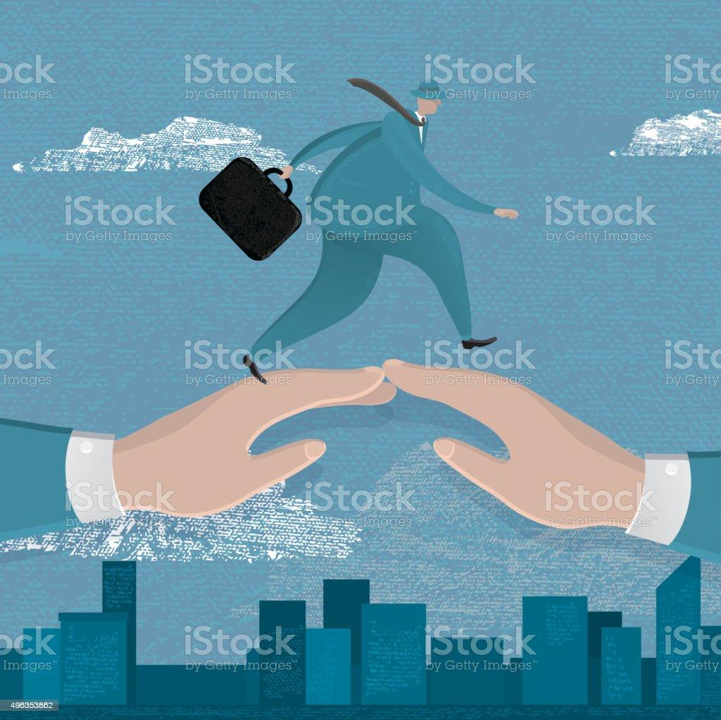Business man walking over two bridged hands vector art illustration