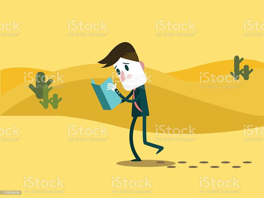 Business man watching a map. alone on a desert. vector art illustration