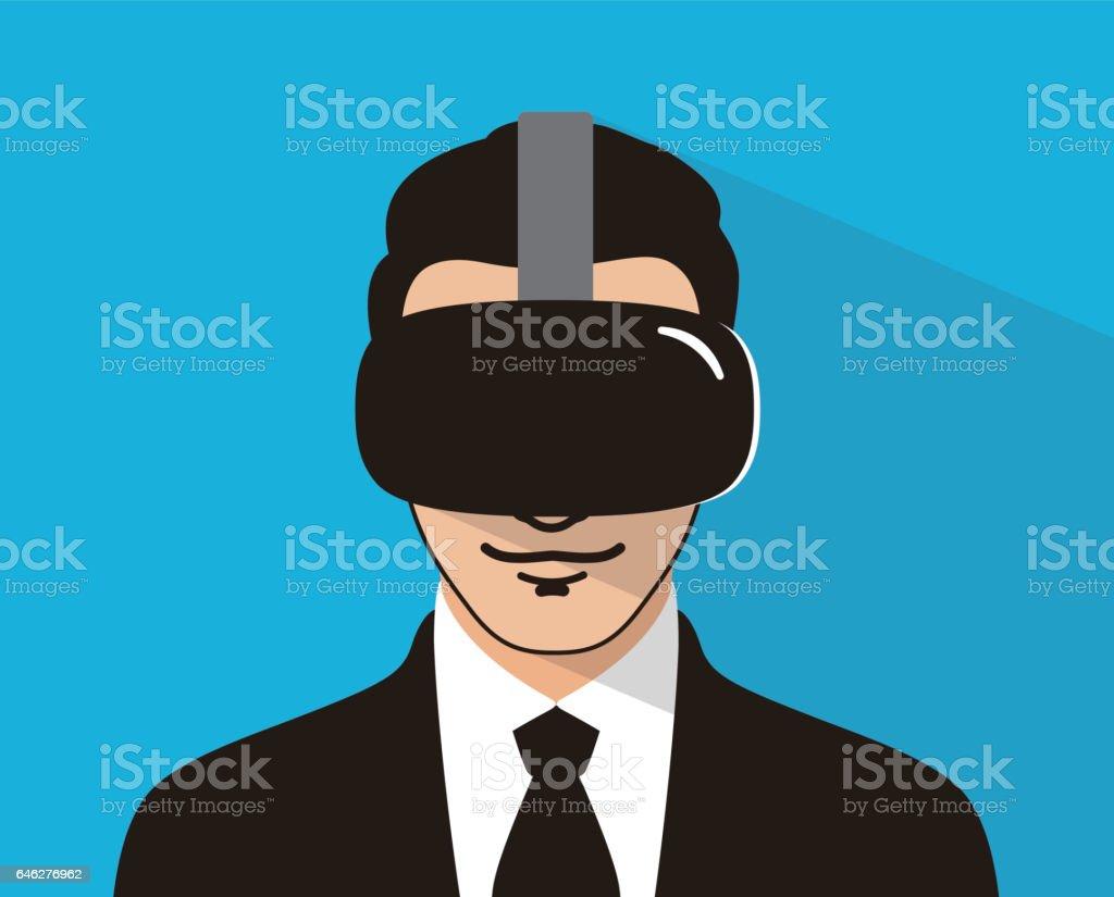 business man wearing VR glasses plying game, vector vector art illustration