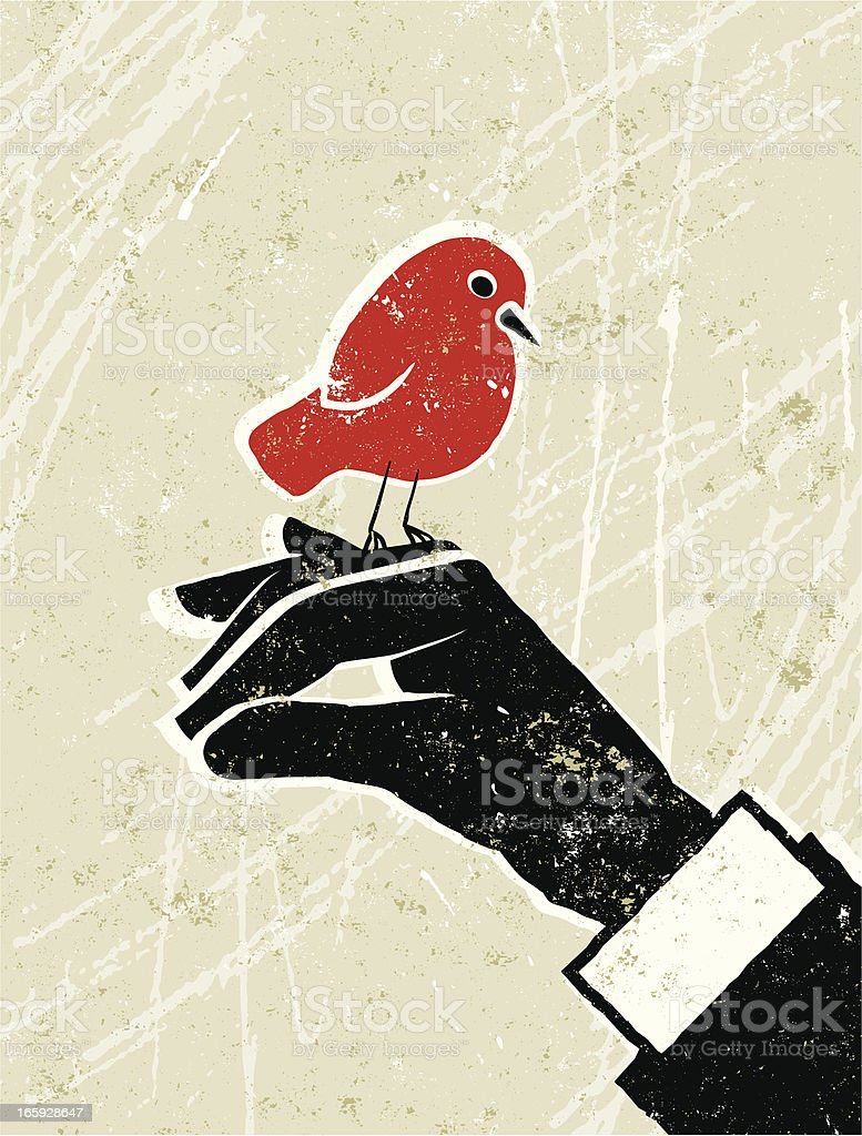 Business Man with a Bird in His Hand royalty-free stock vector art