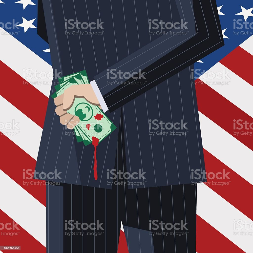 Business man with blood money behind his back vector art illustration