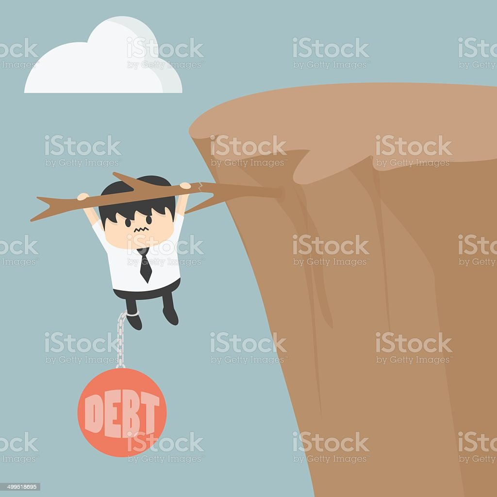 Business man with debt vector art illustration