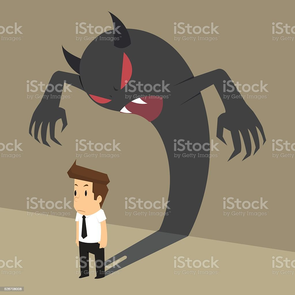 business man with devil shadow that come from within him vector art illustration