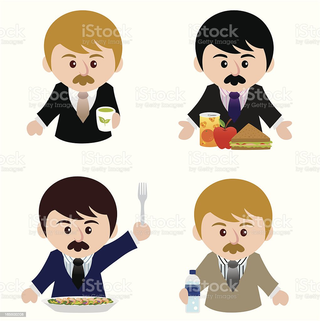 business man with healthy food vector art illustration