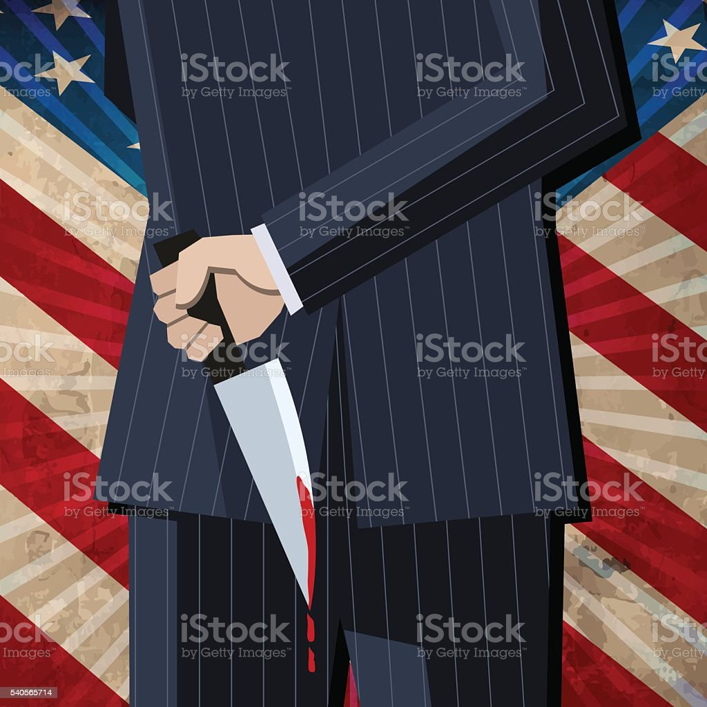 Business man with knife old American flag with rays vector art illustration
