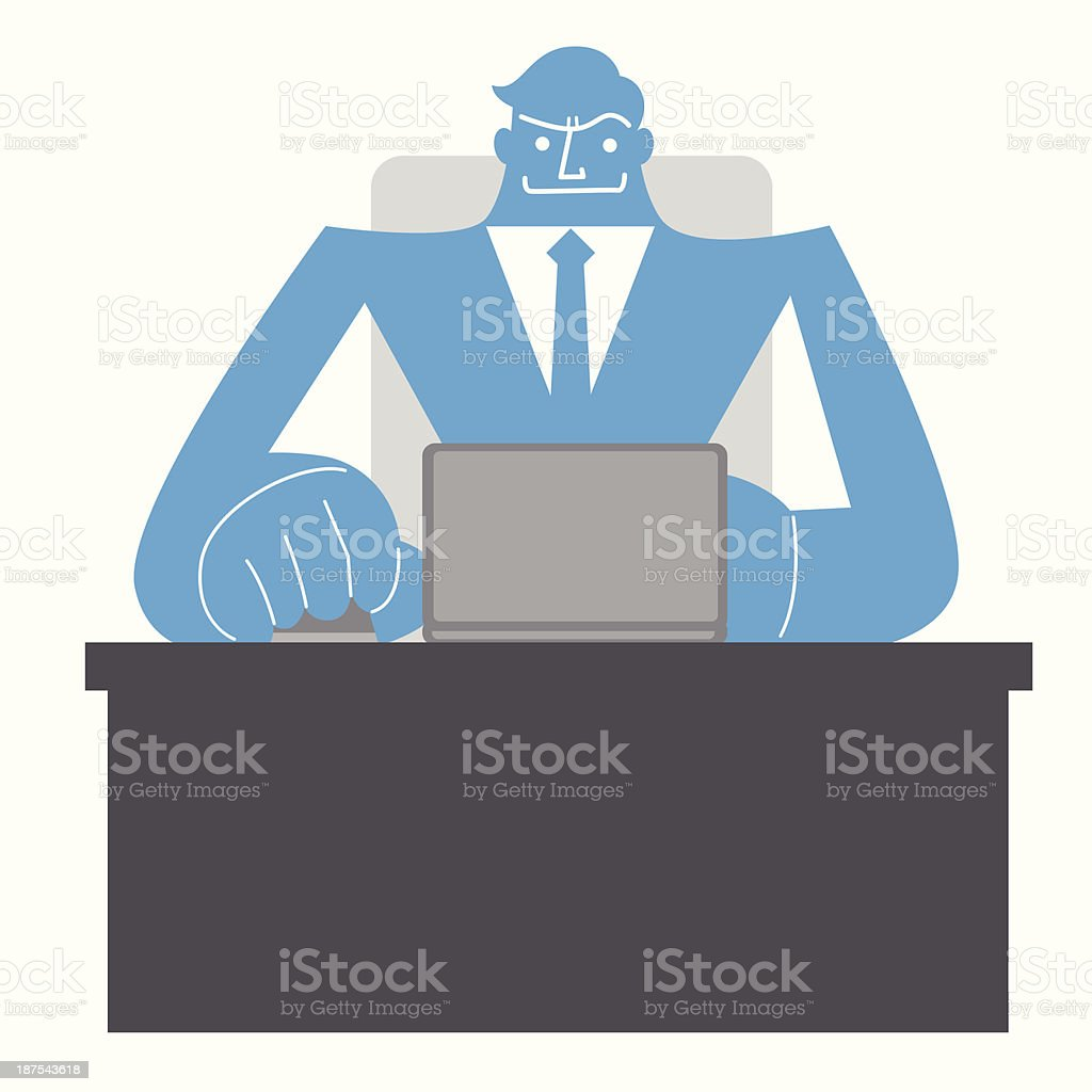 Business man with laptop vector art illustration
