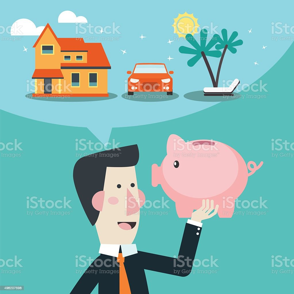 Business man with piggy bank dreaming house, car and holiday vector art illustration