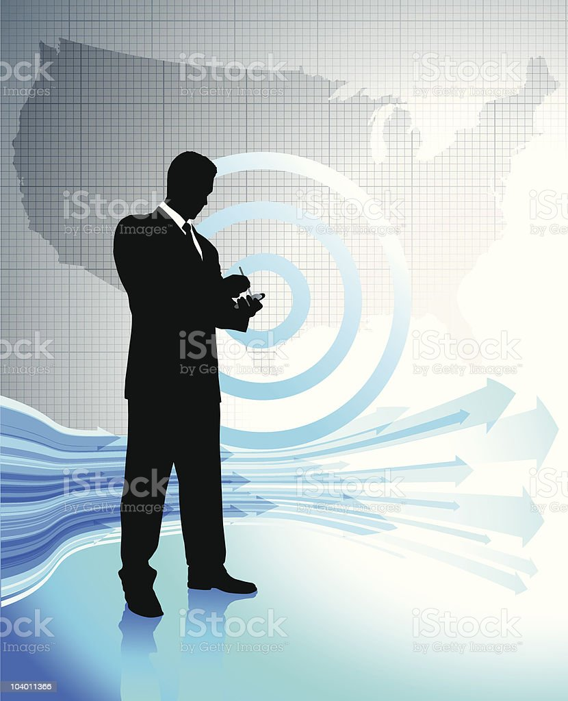 Business man with smart phone on US map background royalty-free stock vector art