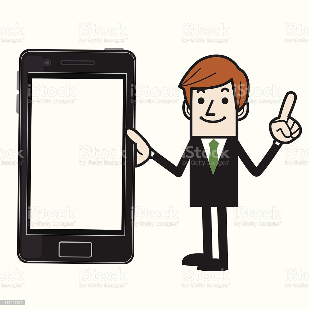 Business man with smartphone royalty-free stock vector art