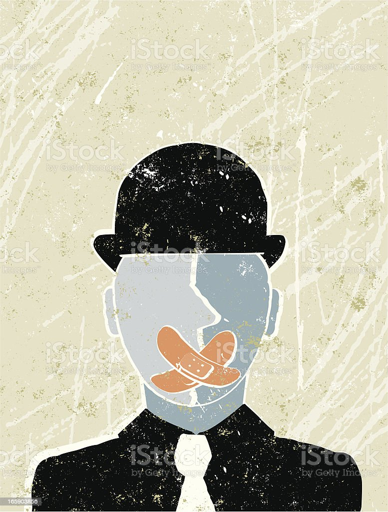 Business Man with Sticking Plaster over his Mouth vector art illustration