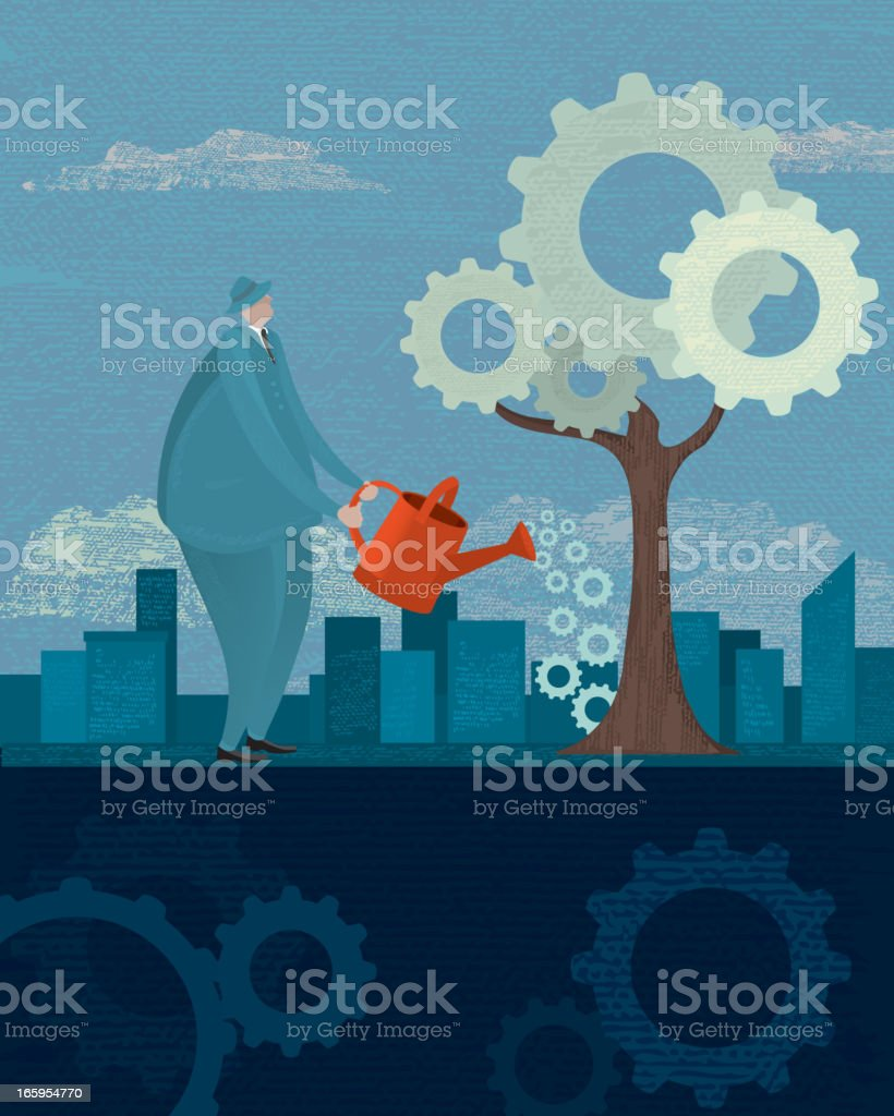 Business man with watering can and gear tree growth concept vector art illustration