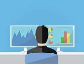 business man working in front of two monitors flat illustration