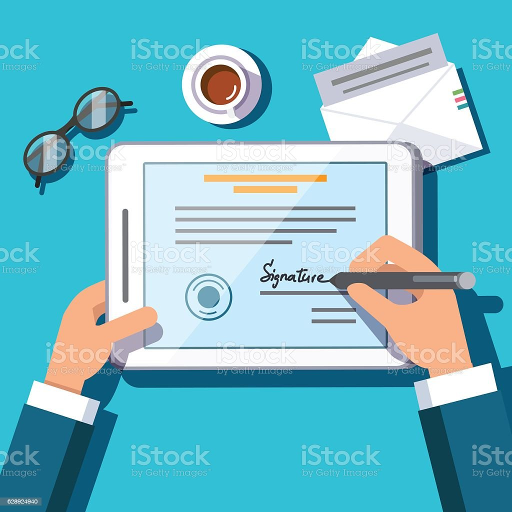 Business man writing an electronic signature vector art illustration