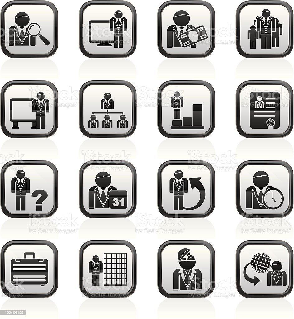 Business, management and hierarchy icons royalty-free stock vector art