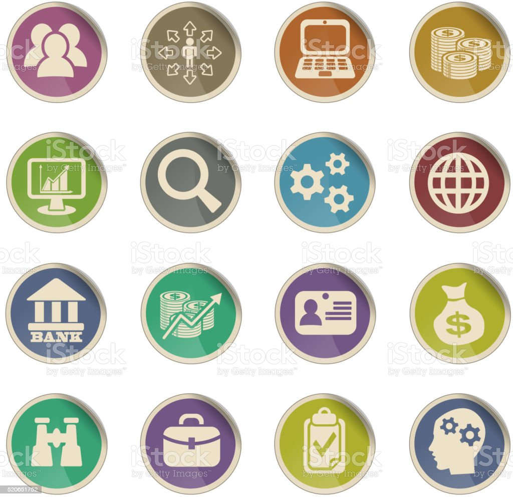 business management and human resources icon set vector art illustration