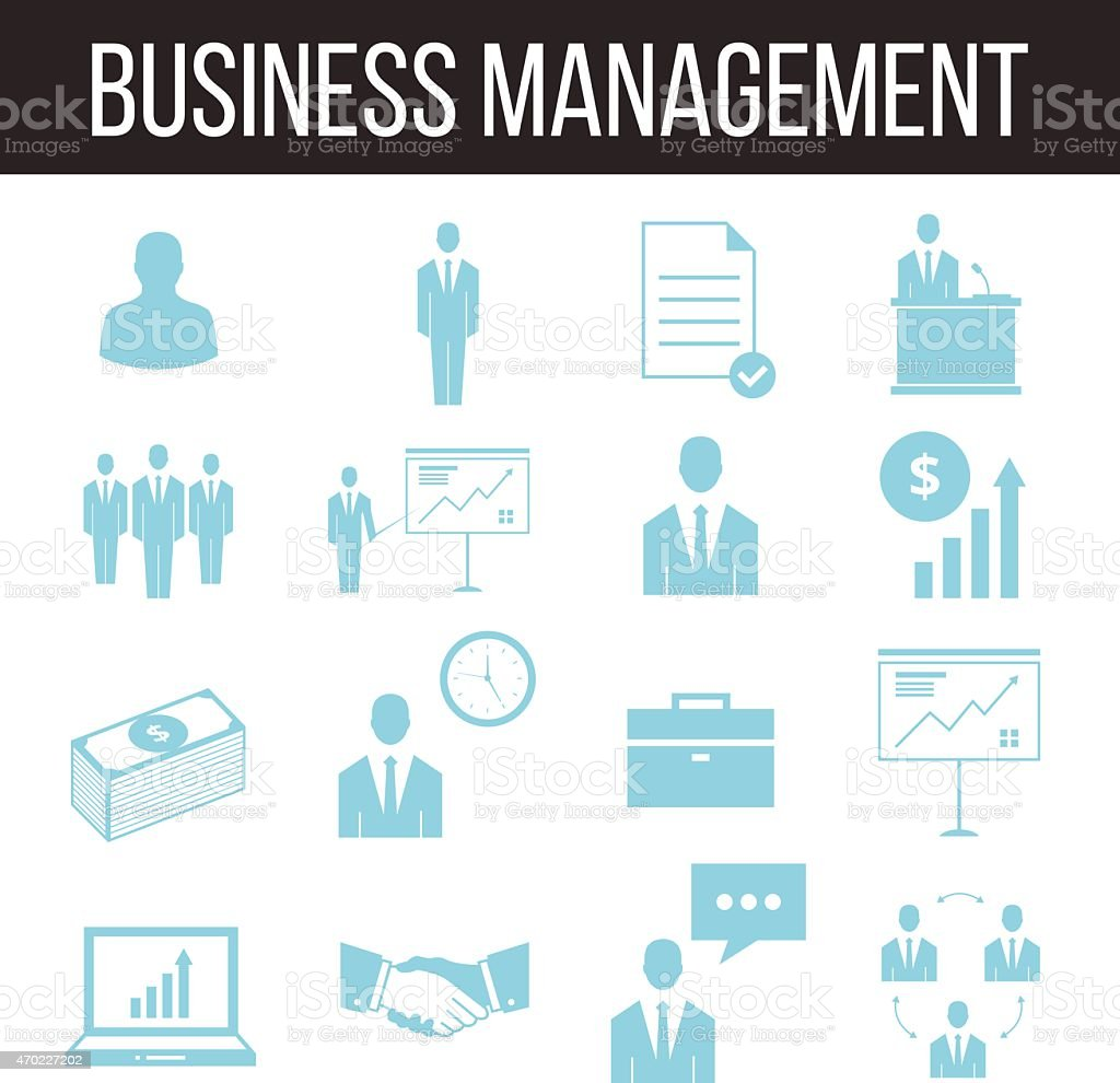 Business management and human resources icons set vector art illustration