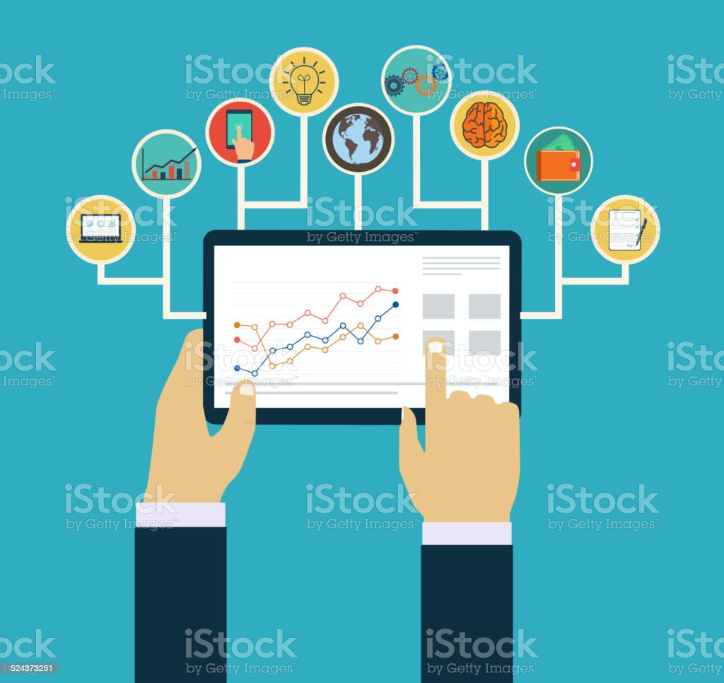 Business management concept, Interaction hands using mobile apps, concept  mobile apps vector art illustration