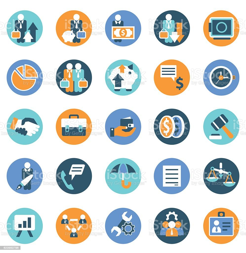 Business management icon set vector art illustration