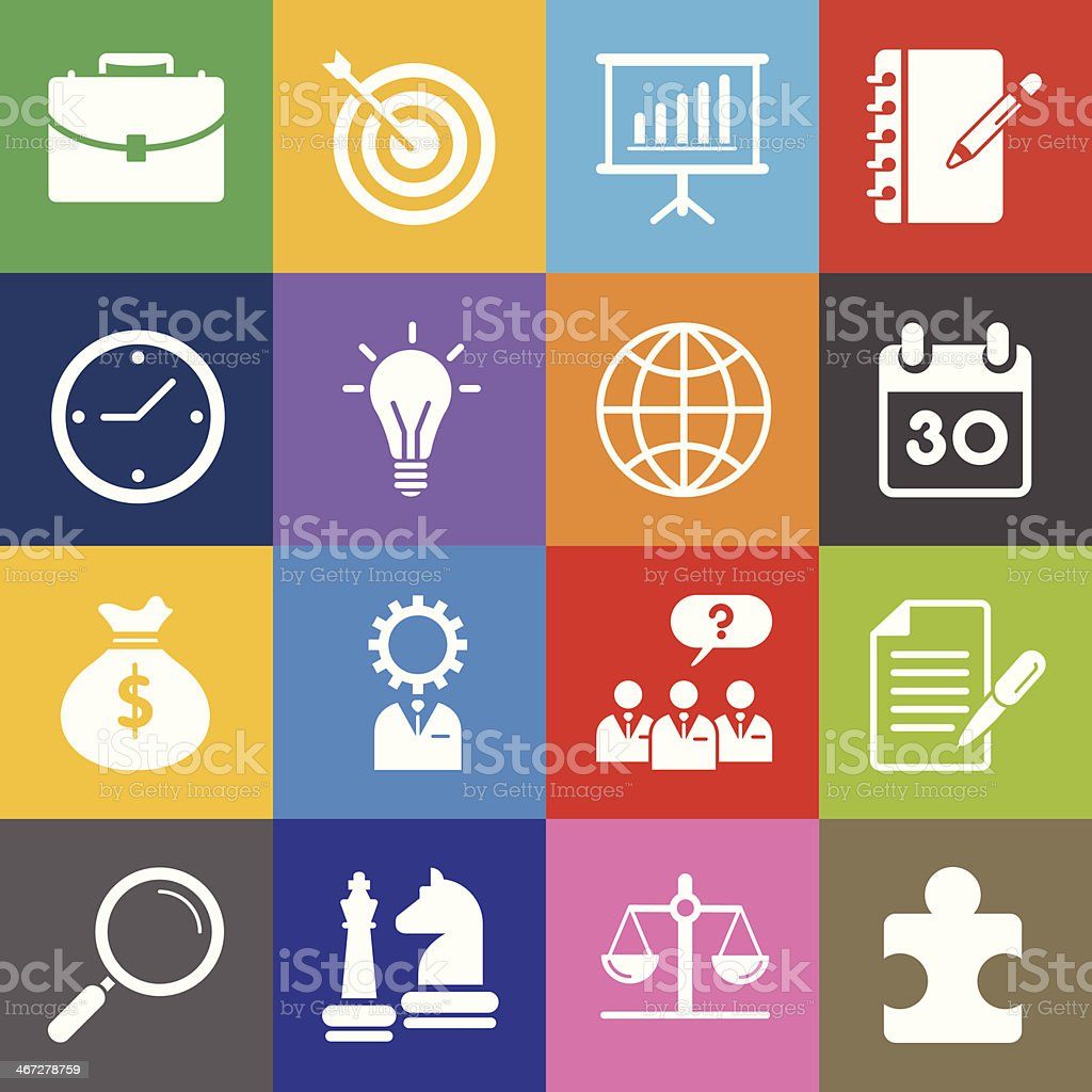 Business Management Icons and Color Background royalty-free stock vector art