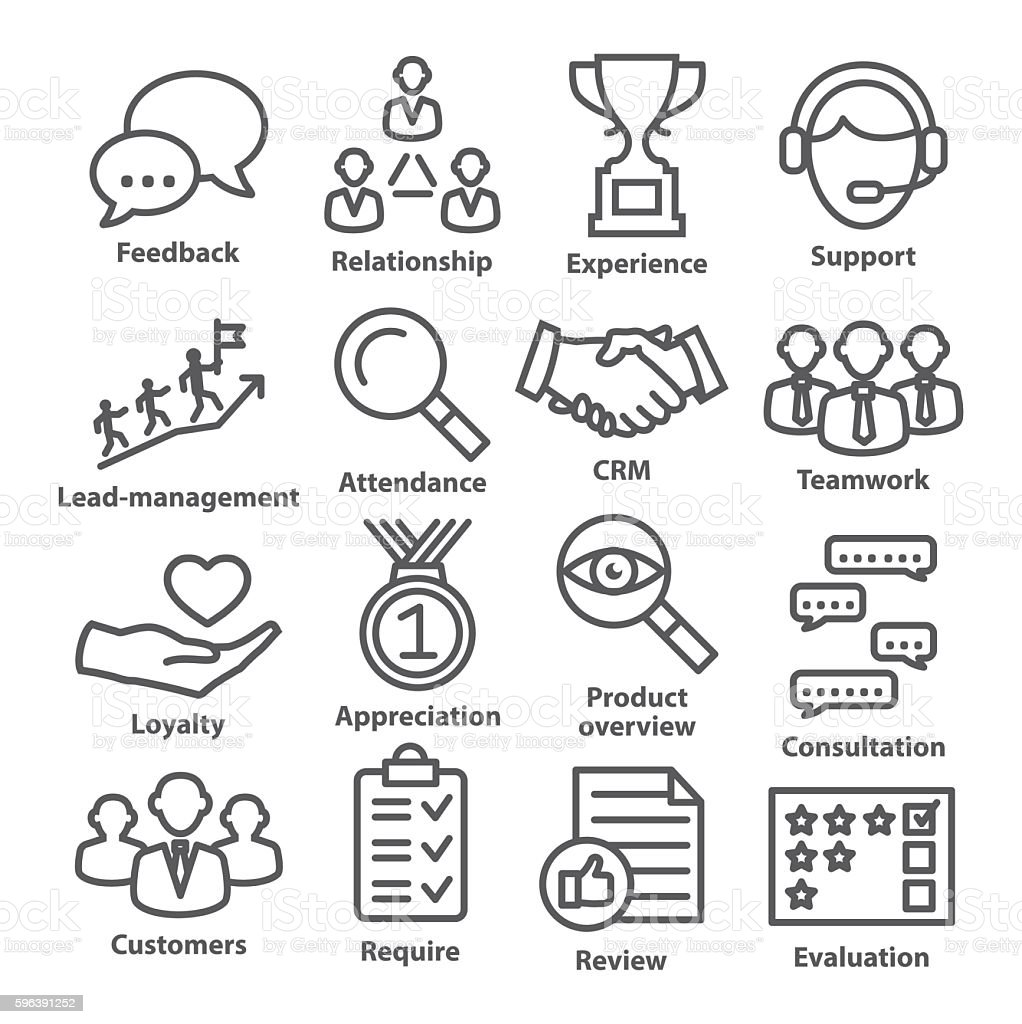 Business management icons in line style. Pack 03. vector art illustration