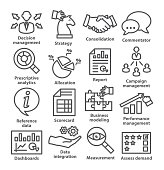 Business management icons in line style. Pack 18.