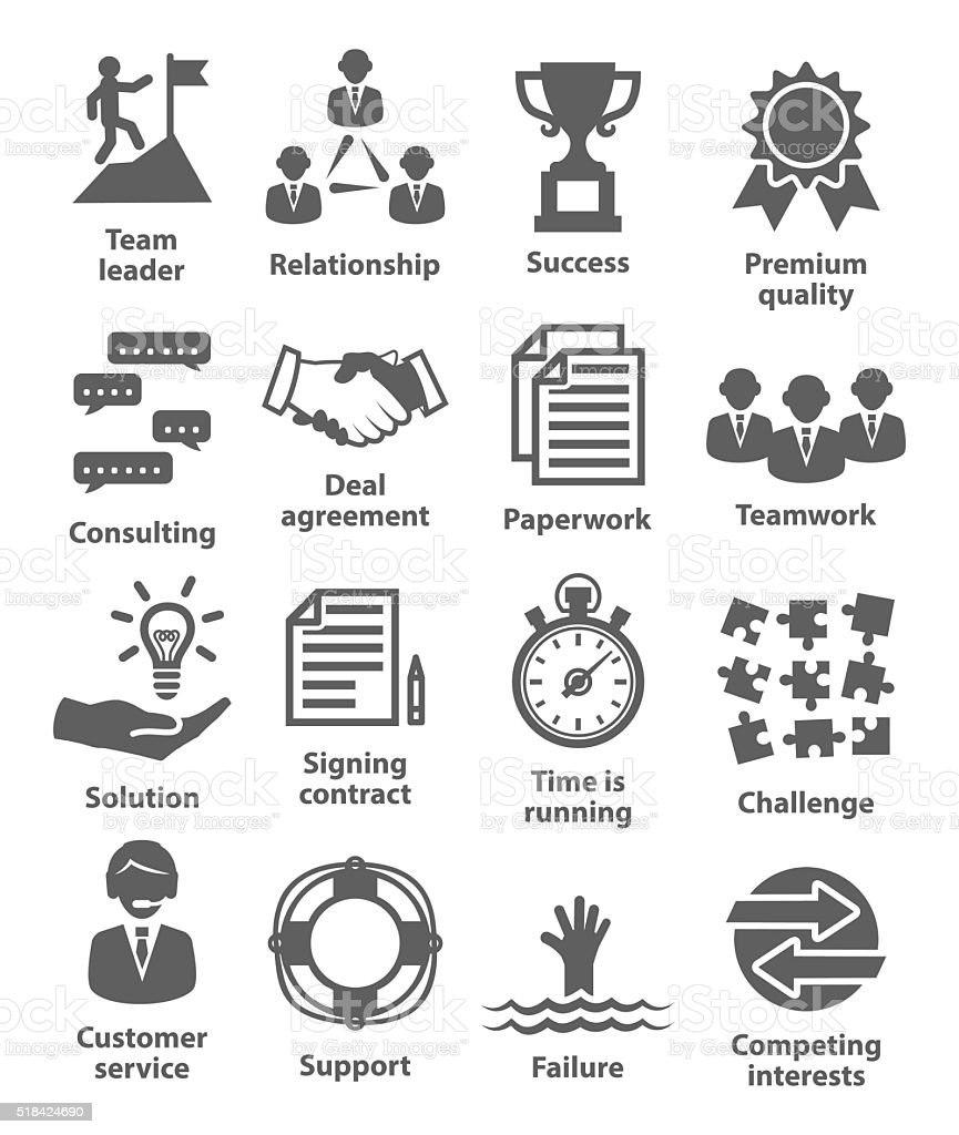 Business management icons. Pack 10. vector art illustration