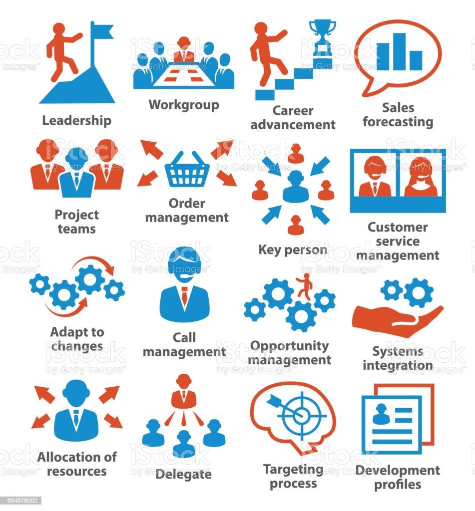 Business management icons vector art illustration