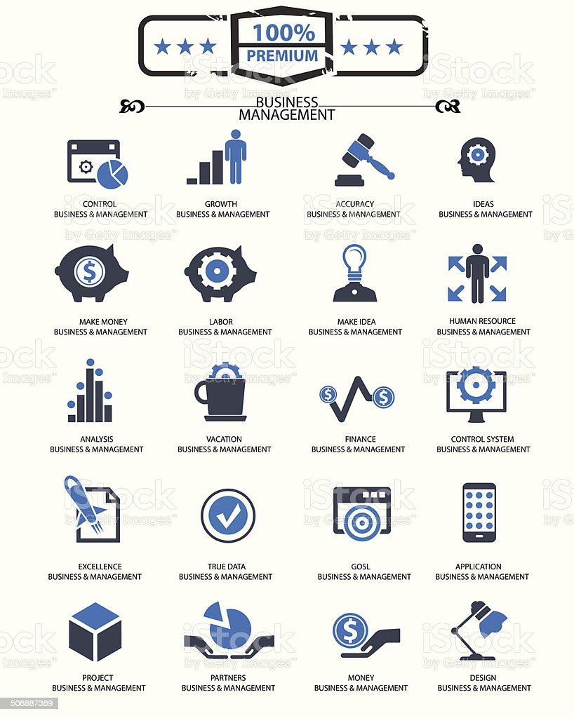 Business Management icons,Blue version,vector vector art illustration