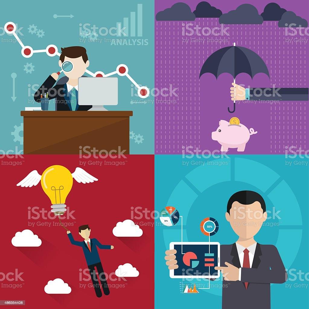 Business management, insurance and analytics. vector art illustration