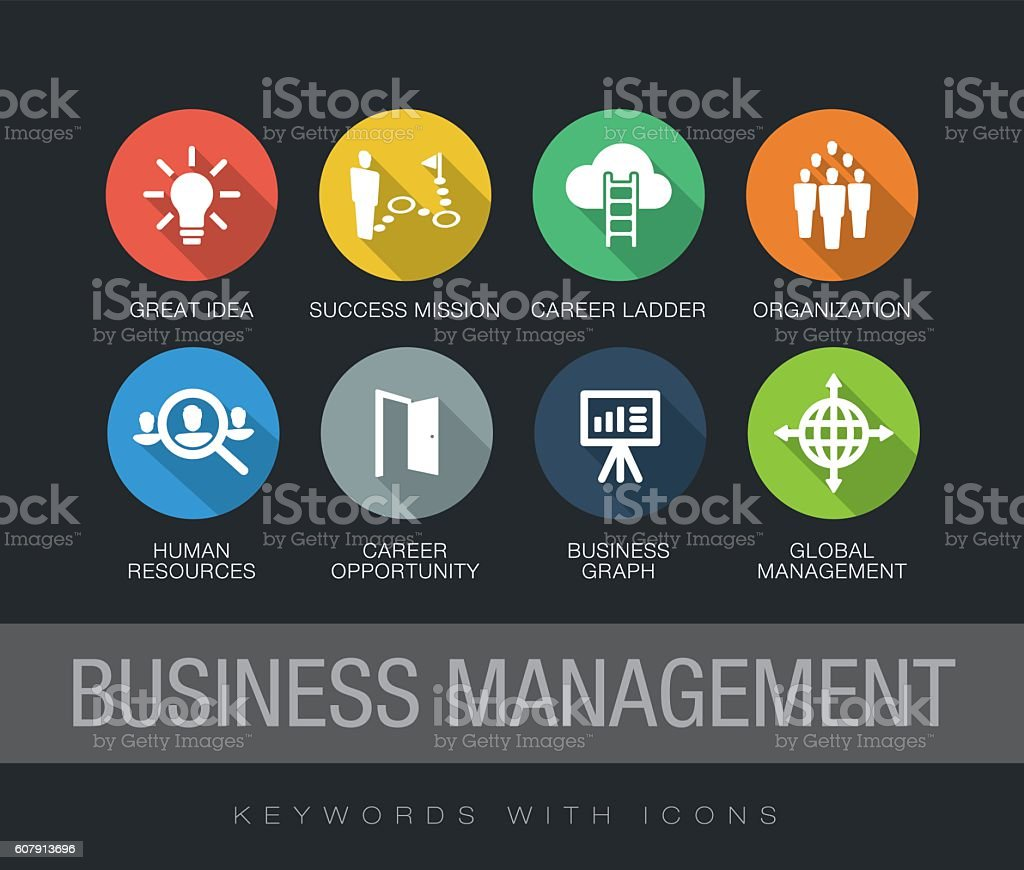 Business Management keywords with icons vector art illustration
