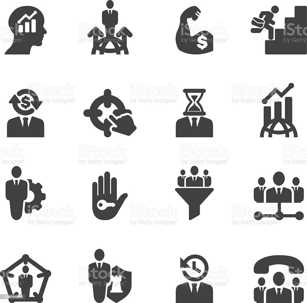 Business & Management Silhouette icons | EPS10 vector art illustration