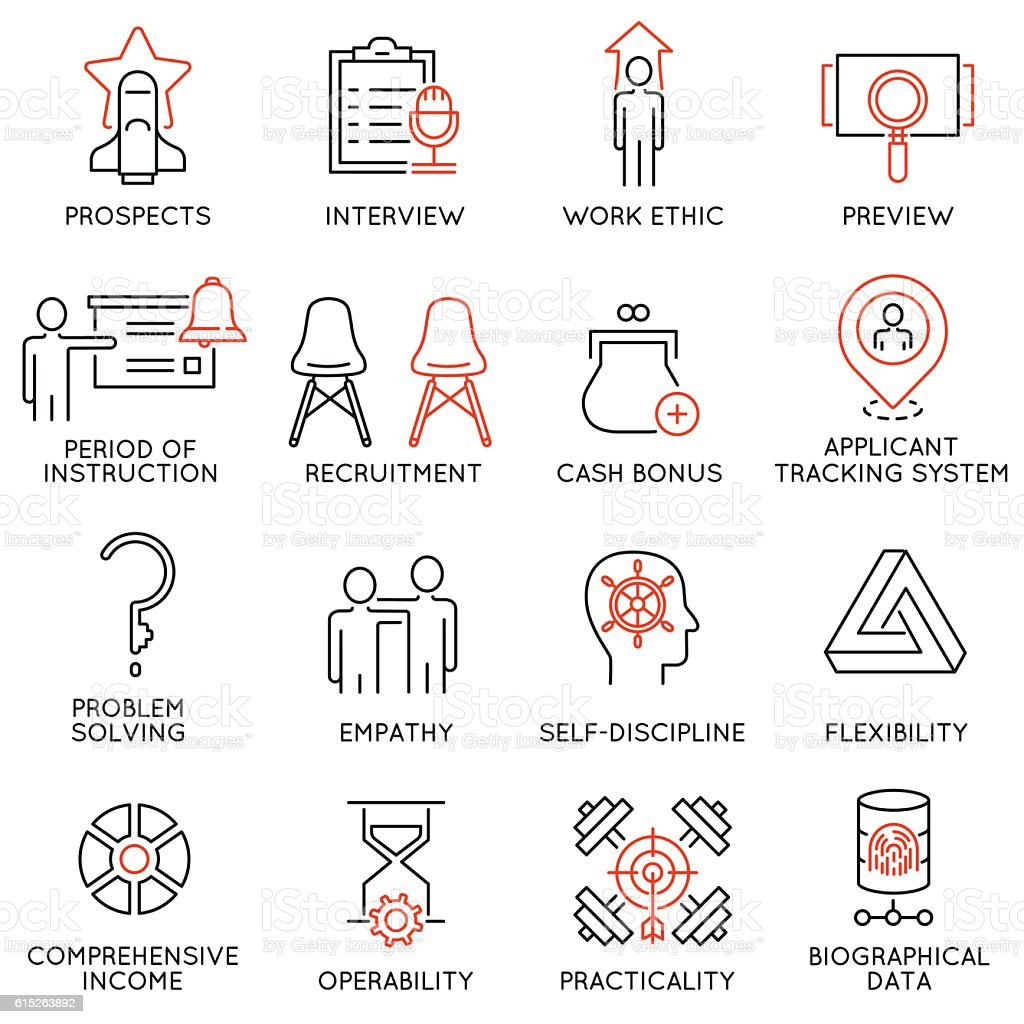 Business management, strategy, career progress icons - part 52 vector art illustration