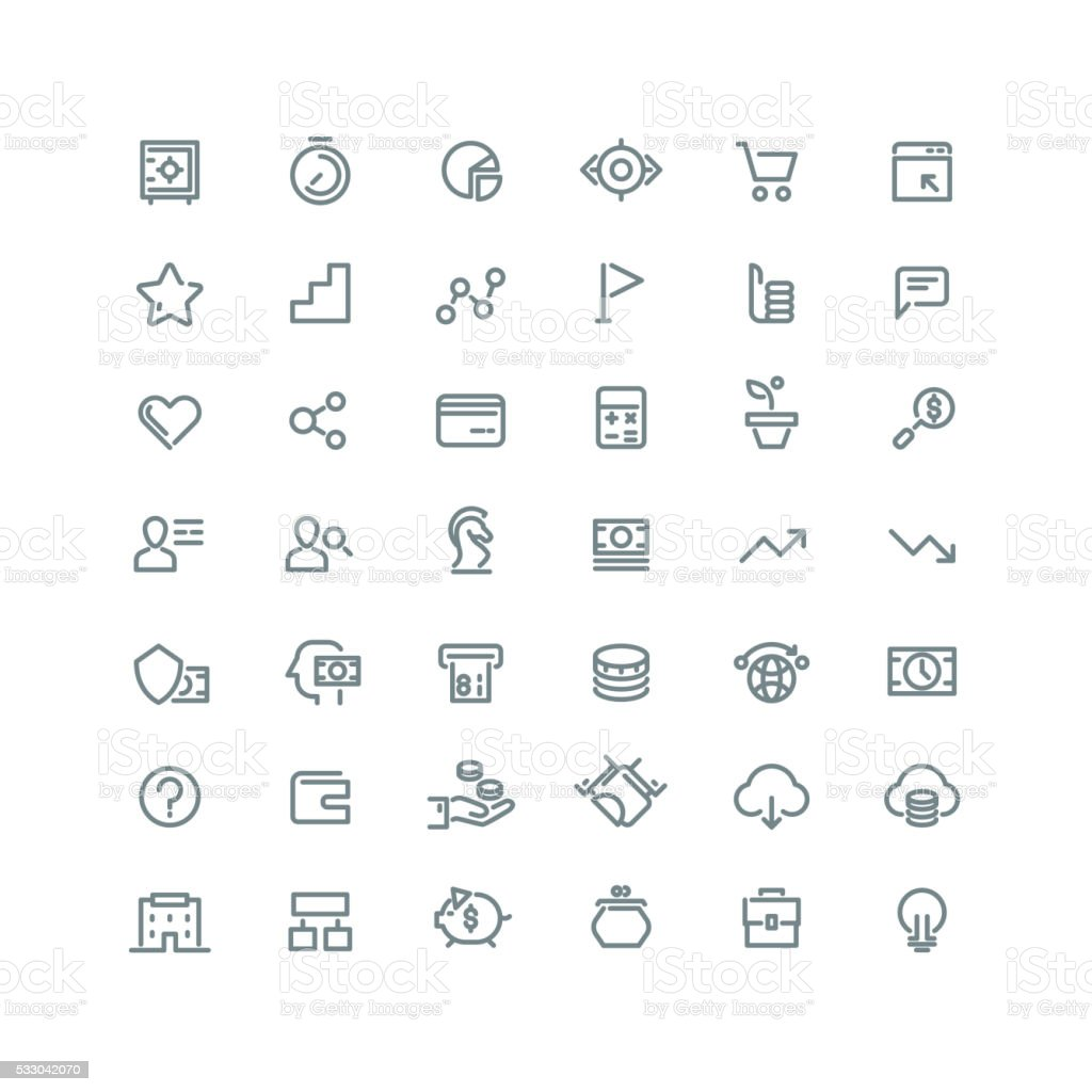 Business management, strategy, career vector line icons set vector art illustration