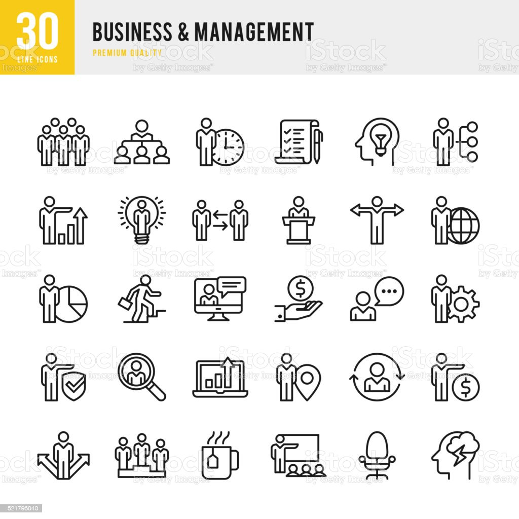 Business & Management - Thin Line Icon Set vector art illustration