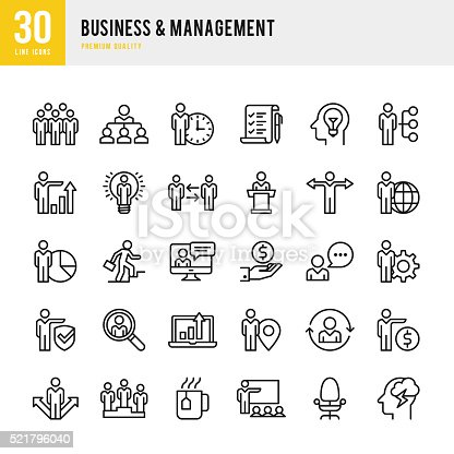 Business Management Thin Line Icon Set stock vector art