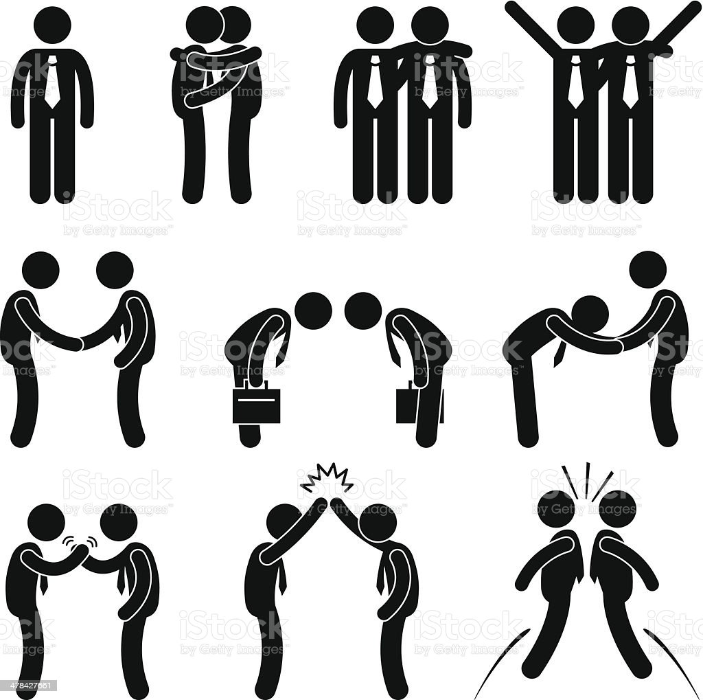 Business Manner Greetings Gesture Stick Figure Pictogram Icon vector art illustration