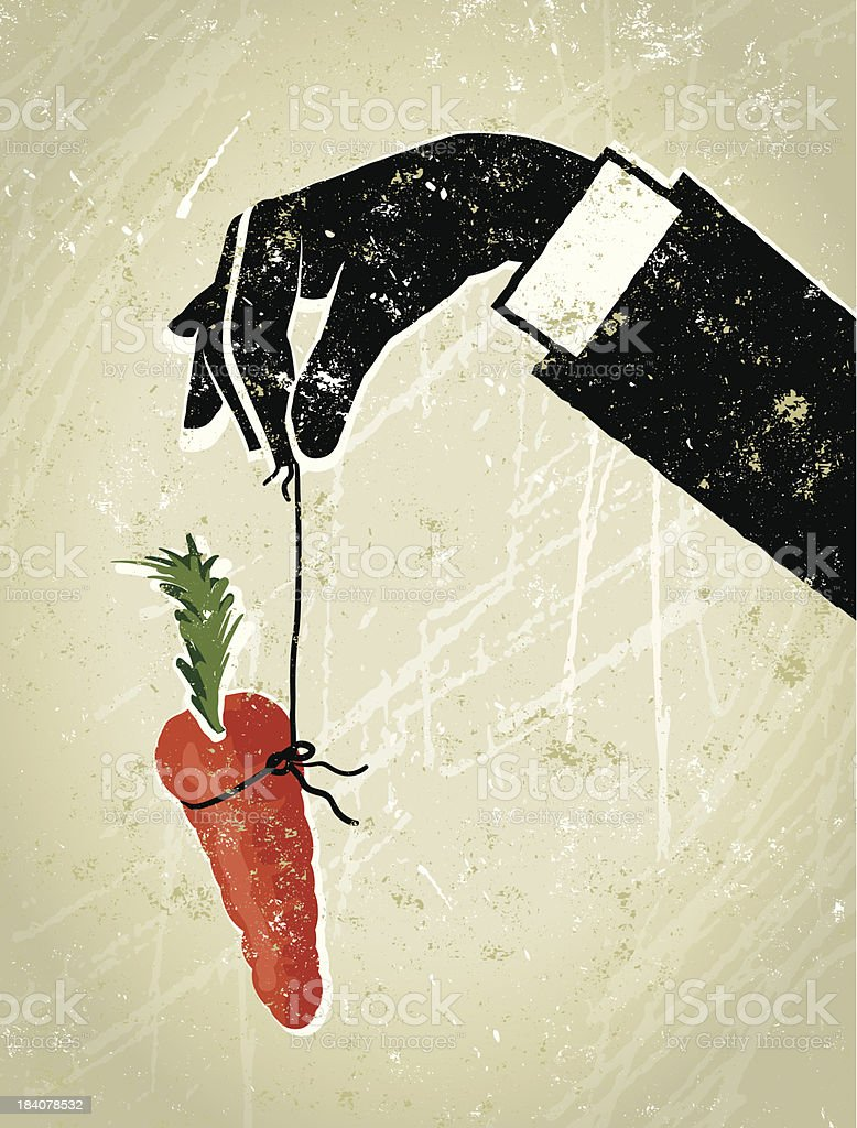 Business Man's Hand Dangling a Carrot royalty-free stock vector art