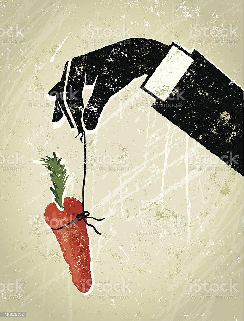 Business Man's Hand Dangling a Carrot vector art illustration