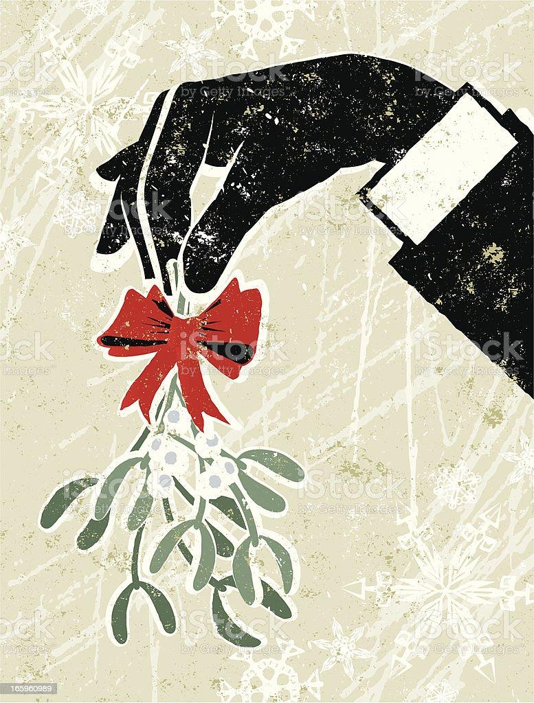 Business Man's Hand Holding a Sprig of Mistletoe vector art illustration