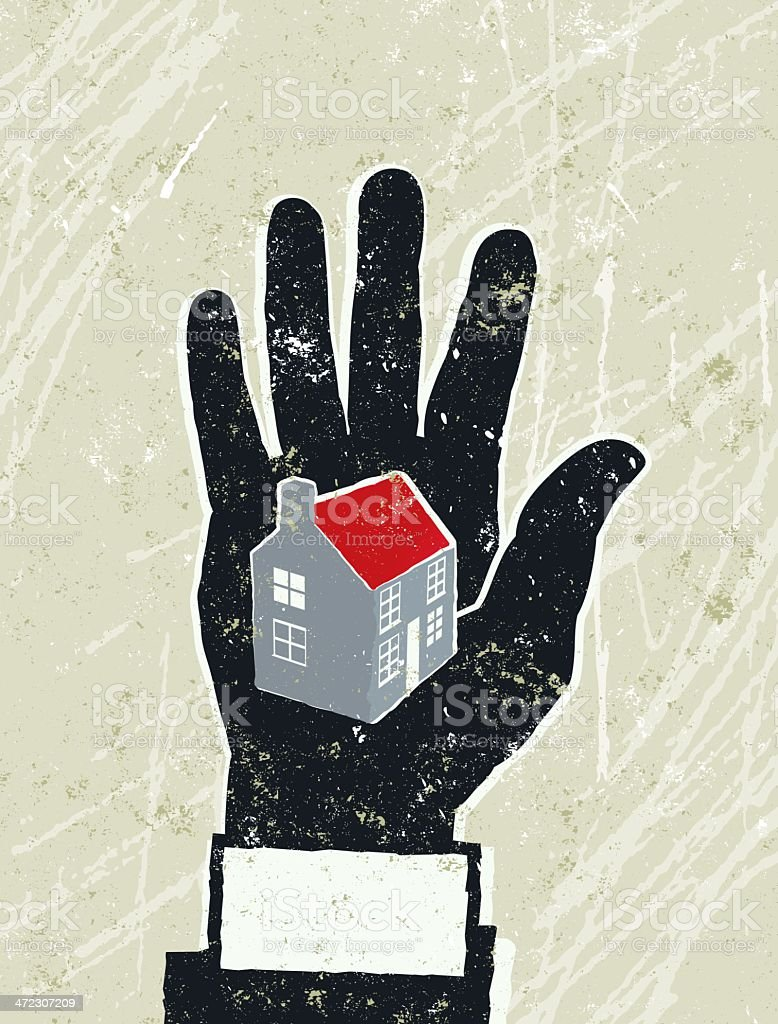 Business Man's Hand with a house on the palm royalty-free stock vector art
