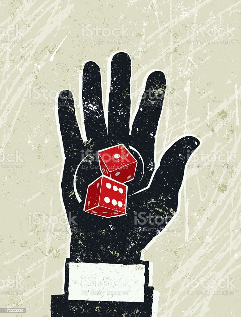 Business Man's Hand with Pair of Dice on the Palm royalty-free stock vector art