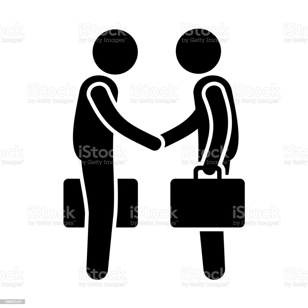 Business Mans Handshake. Greetings Gesture Stick Figure Pictogram Icon. Vector royalty-free stock vector art