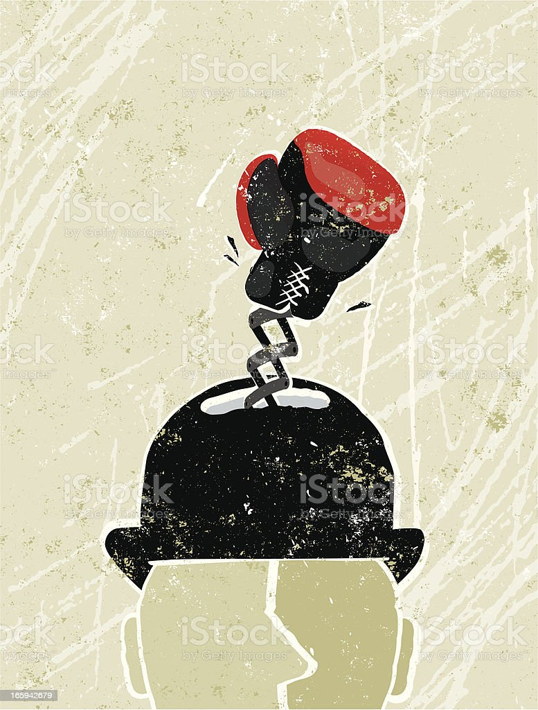 Business Man's Head With Boxing Glove royalty-free stock vector art