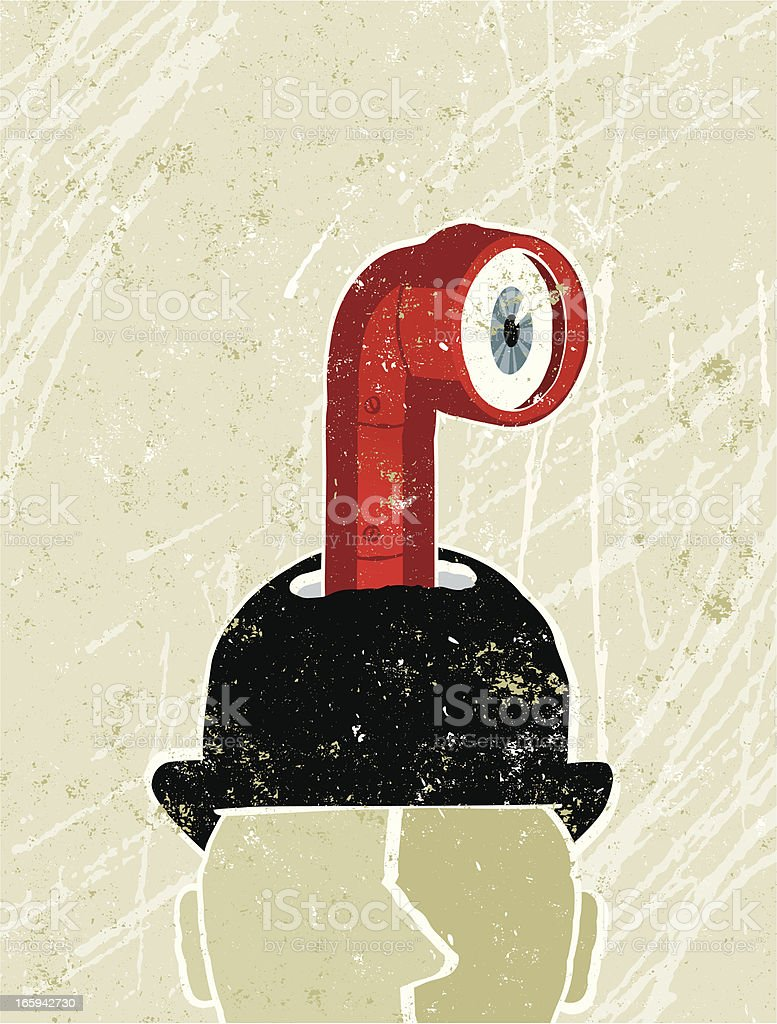 Business Man's Head With Periscope royalty-free stock vector art