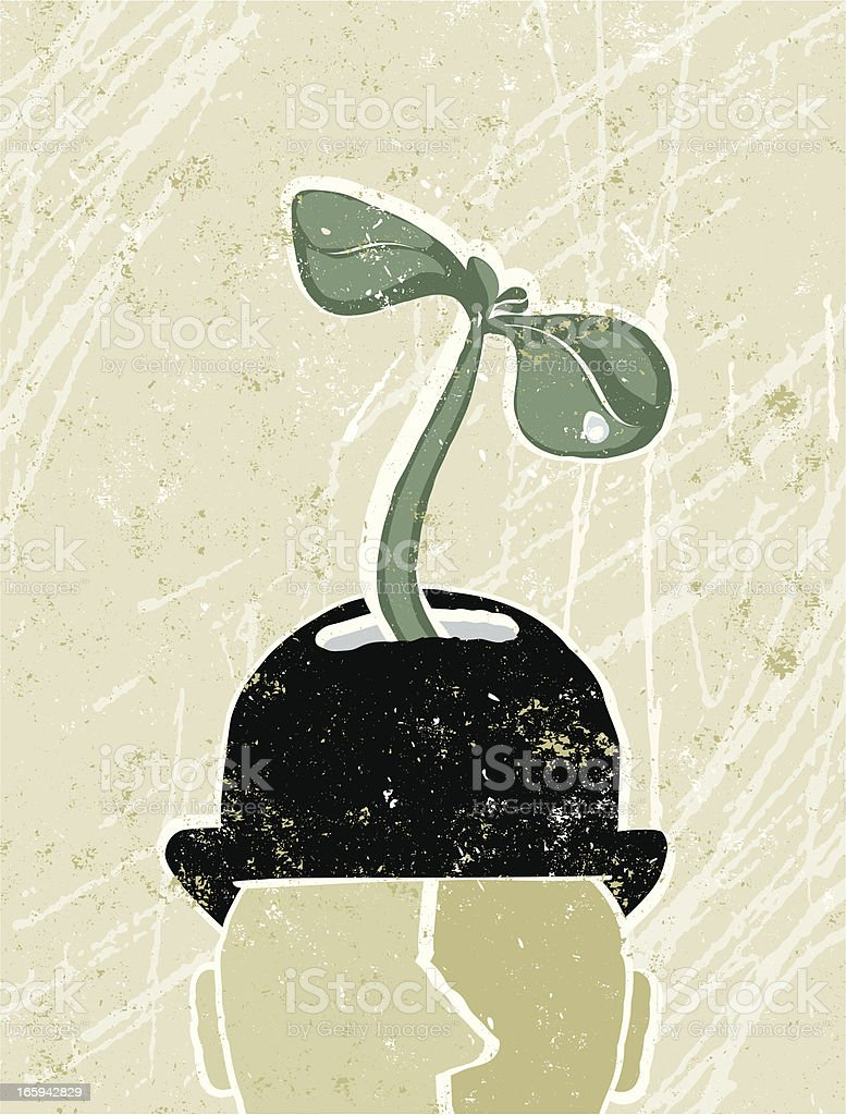 Business Man's Head With Young Plant Green Shoots vector art illustration