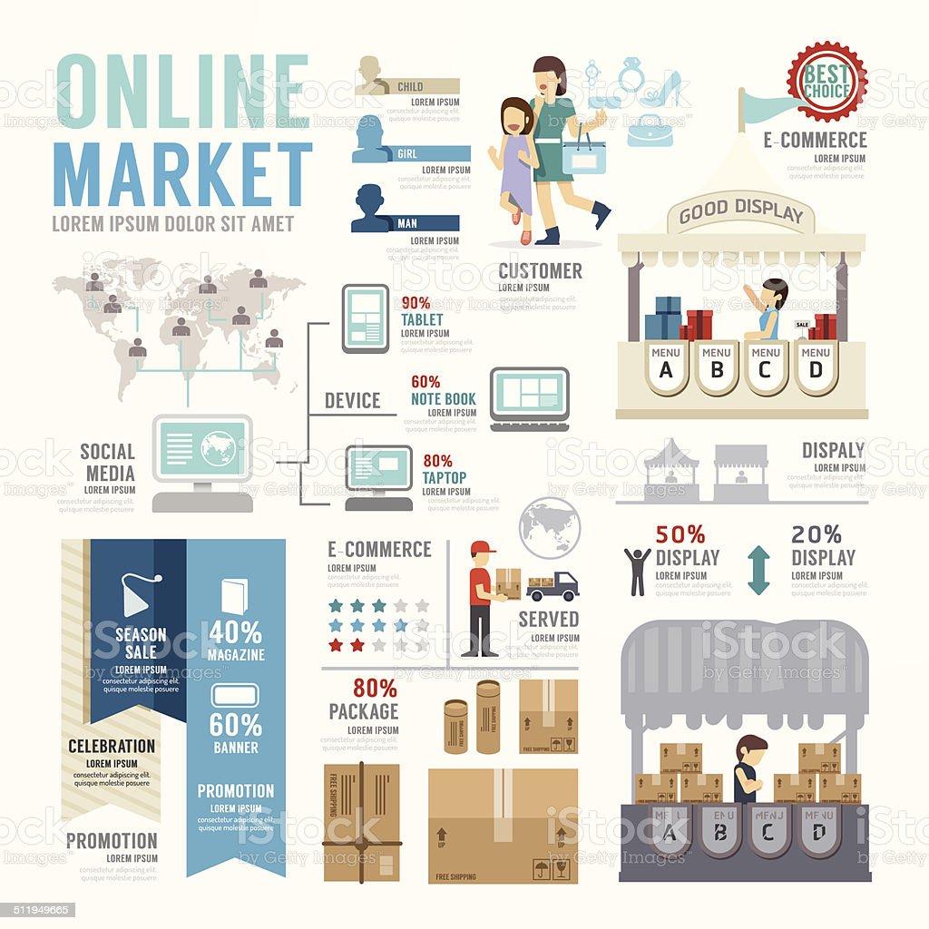 Business Market Online Template Design Infographic . Concept vector art illustration
