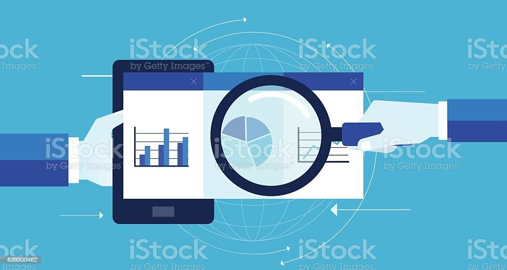 business marketing analytic graph report on mobile device vector art illustration
