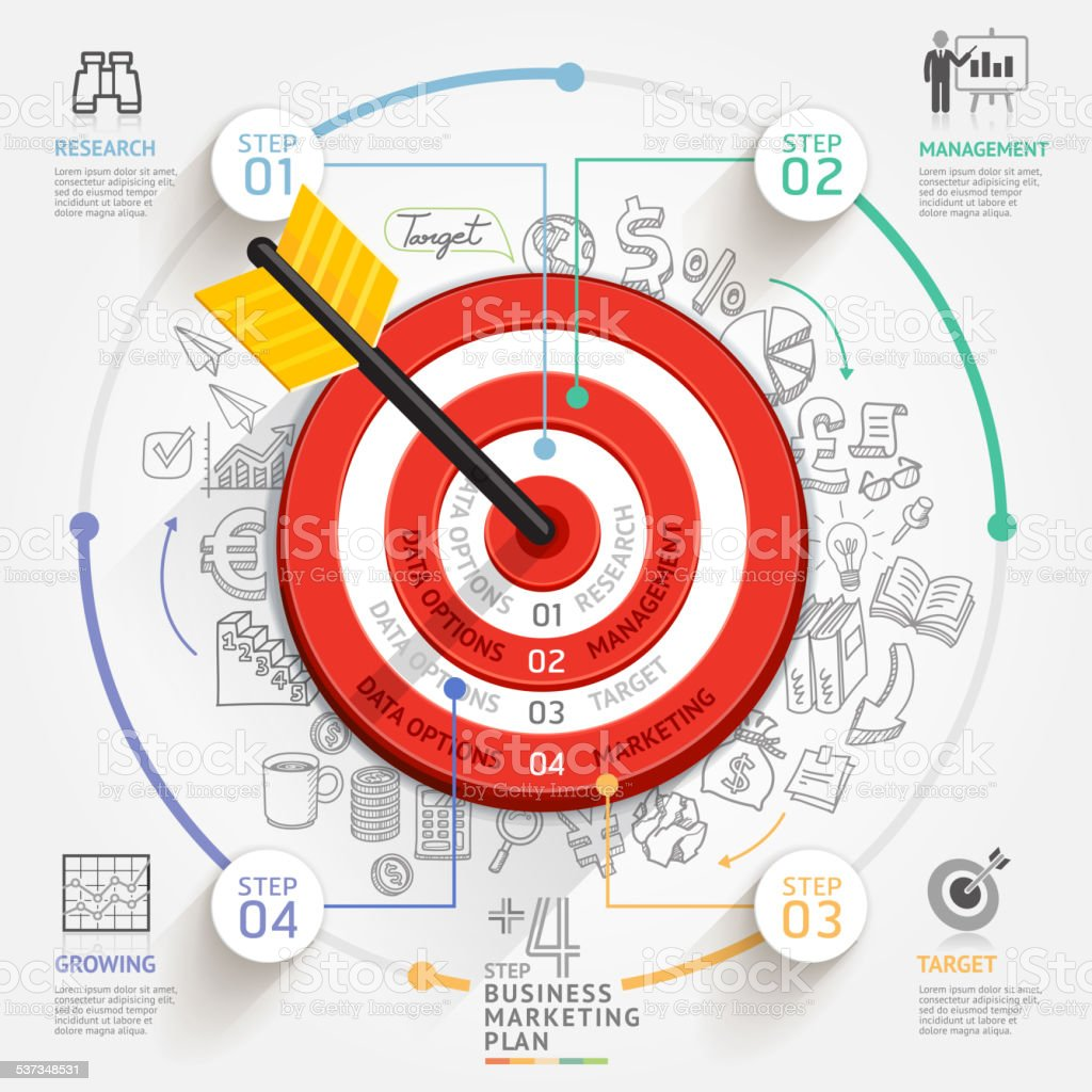 Business marketing concept. Target with arrow and doodles icons. vector art illustration